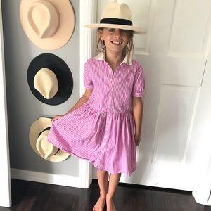 Polo Ralph Lauren pink white stripe dress size 8
